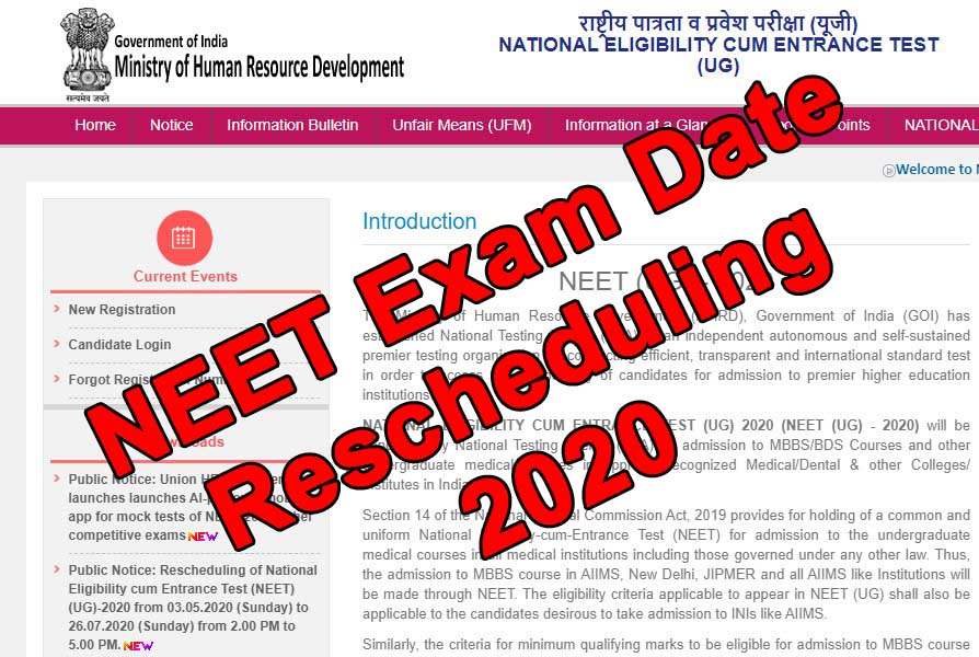 Read more about the article NEET Exam 2020 Postponed Again