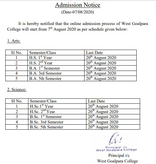 west goalpara college admission last date extended