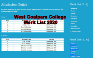 Read more about the article West Goalpara College Merit List 2020